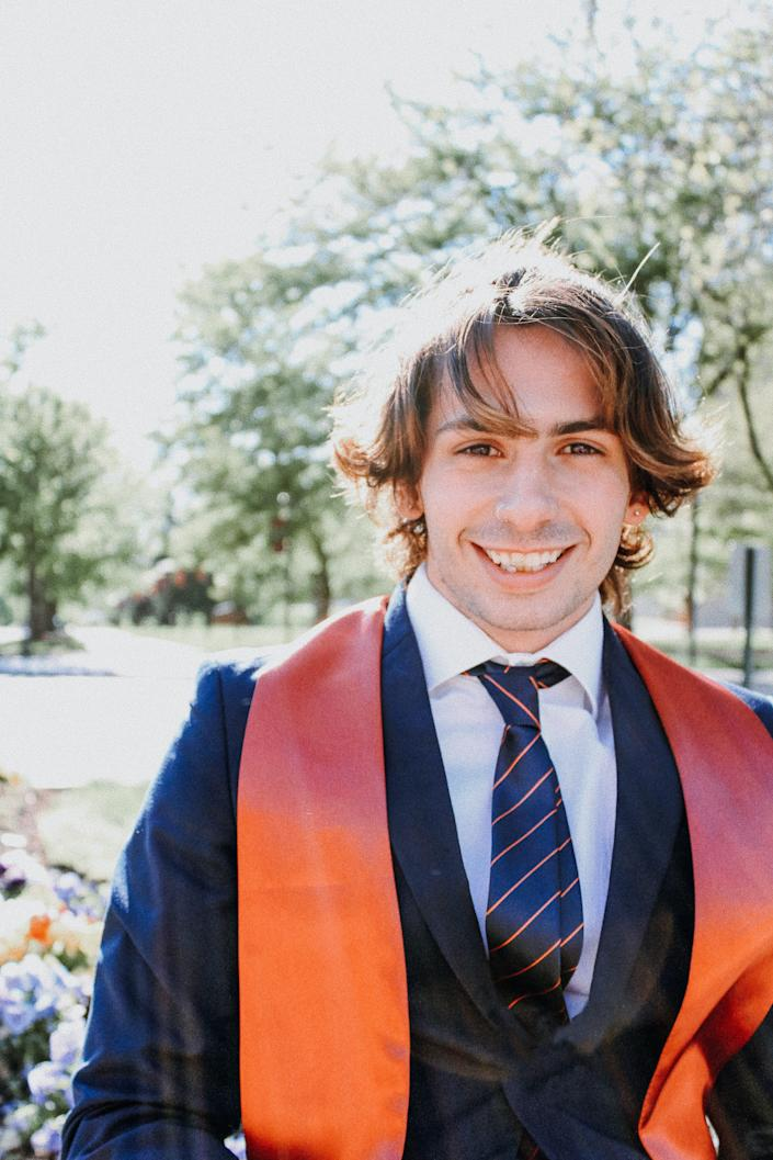 Lane Wolf graduated in May from Indiana University-Bloomington with a bachelor's in media. He planned to move to Los Angeles, but now works in a homeless shelter for people exposed to COVID-19.