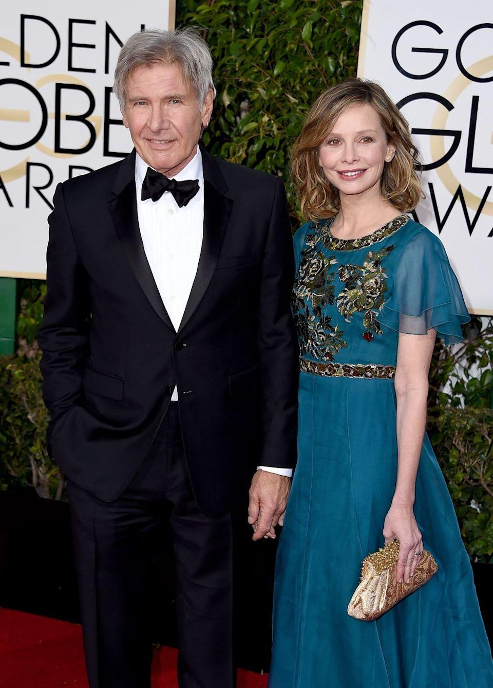 "<p>Harrison Ford and Calista Flockhart first met at the 2002 Golden Globe Awards, when Ford was 60 and Flockhart was 38. They continued to date for another seven-and-a-half years before Ford finally <a href=""http://people.com/celebrity/harrison-ford-proposes-to-calista-flockhart/"" rel=""nofollow noopener"" target=""_blank"" data-ylk=""slk:popped the question"" class=""link rapid-noclick-resp"">popped the question</a> over Valentine's Day weekend in 2009. They <a href=""http://people.com/celebrity/harrison-ford-and-calista-flockhart-get-married/"" rel=""nofollow noopener"" target=""_blank"" data-ylk=""slk:married"" class=""link rapid-noclick-resp"">married</a> that same year in Santa Fe, New Mexico, and have one adopted son together.</p>"