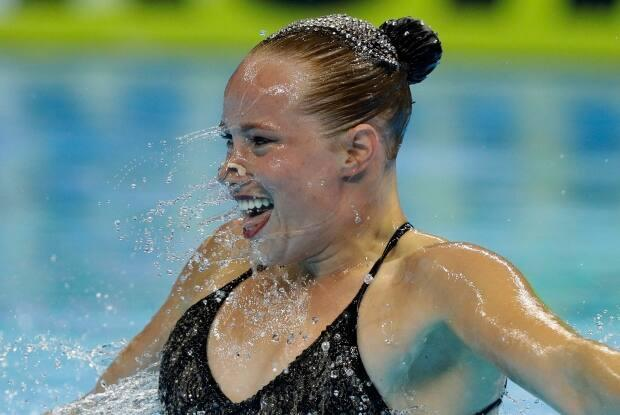 Canada's Jacqueline Simoneau, seen above in 2019, won gold in the solo technical event at the artistic swimming World Series in Barcelona on Thursday. (Mark Baker/The Associated Press - image credit)