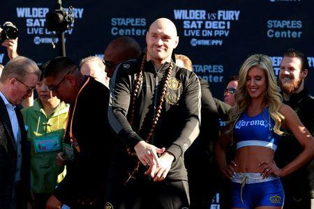 Boxing - Deontay Wilder & Tyson Fury Weigh-In - Los Angeles Convention Center, Los Angeles, United States - November 30, 2018 Tyson Fury during the weigh in Action Images via Reuters/Andrew Couldridge