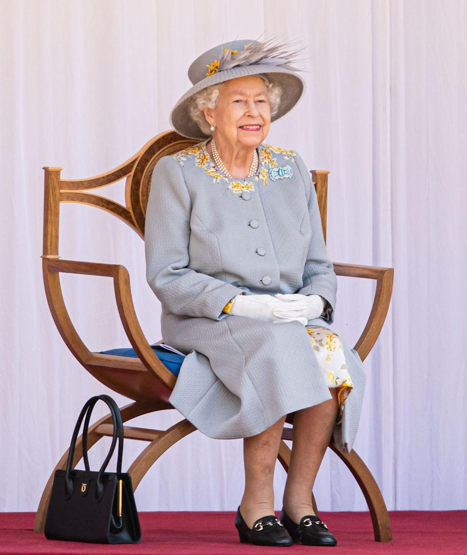 <p>The Queen attending Trooping the Colour 2021 in Windsor. </p>