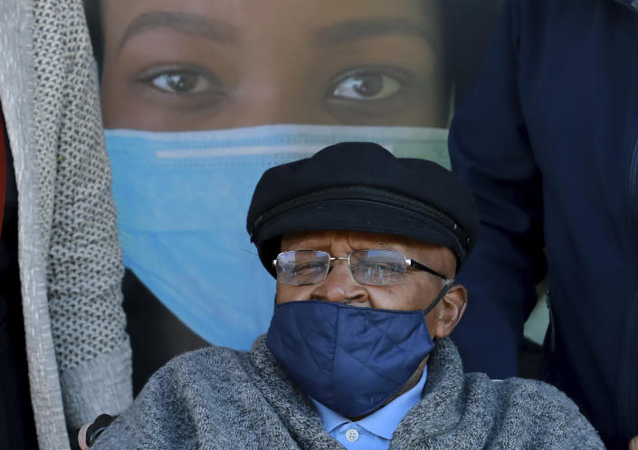 Anglican Archbishop Emeritus, Desmond Tutu is photographed after receiving a shot of the COVID-19 vaccine, at the Brooklyn Chest Hospital in Cape Town, South Africa, Monday, May 17, 2021. South Africa has started its mass vaccination drive with the goal of inoculating nearly 5 million citizens aged 60 and above by the end of June. (AP Photo/Nardus Engelbrecht)