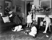 <p>Again, some things never change. Here, children in the United States scour their living room in the early 1900s. </p>