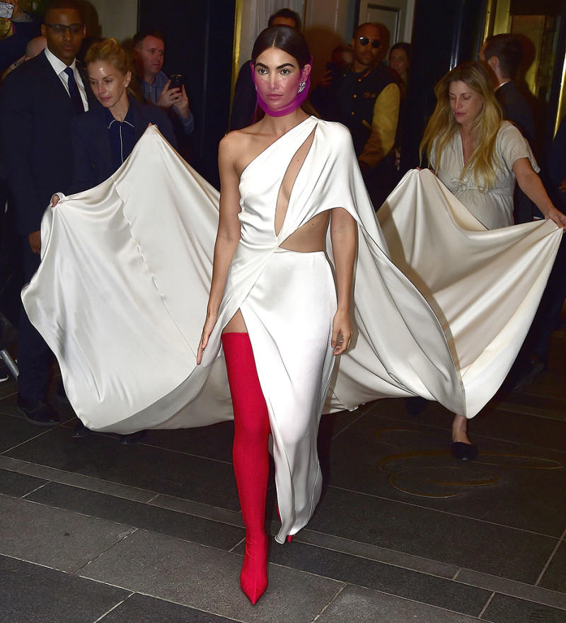 NEW YORK, NY - MAY 01: Lily Aldridge is seen leaving her hotel for the MetGala on May 1, 2017 in New York City. (Photo by Alo Ceballos/GC Images)