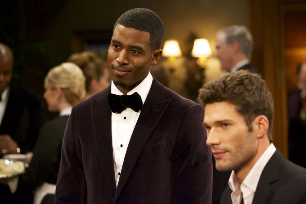 "Gavin Houston as Jeffery Harrington and Aaron O'Connell as Wyatt Cryer in ""The Haves and the Have Nots"" episode, ""The Big Surprise."""