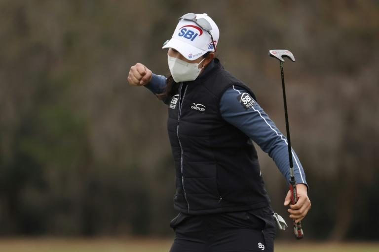 Kim A Lim celebrates her birdie putt on the 18th green to win the US Open in Houston