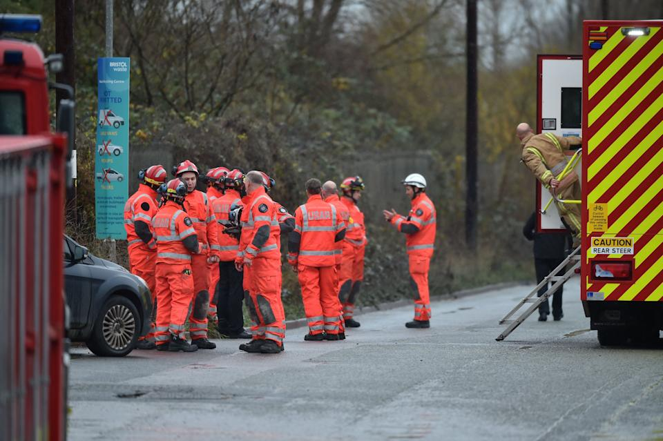 The scene in Avomouth, Bristol, as fire crews, police and paramedics are responding to a large explosion at a warehouse where there have been multiple casualties. (Photo: PA)