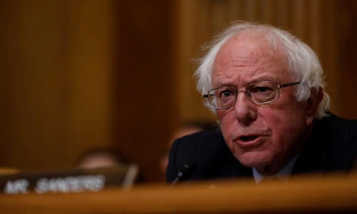 """<span class=""""element-image__caption"""">'Bernie Sanders seeks to replace the hodge-podge of private and public health plans with 'Medicare for All'.'</span> <span class=""""element-image__credit"""">Photograph: Aaron P Bernstein/Reuters</span>"""