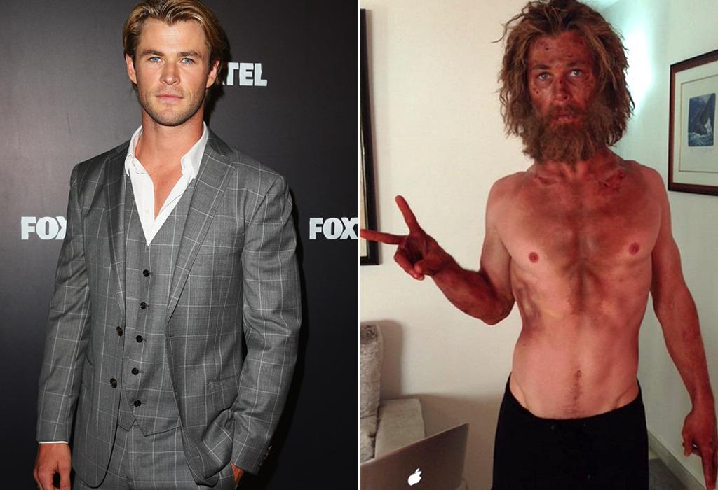 "<p>Hemsworth isn't new to shedding weight (see: <i>Black Hat </i>and <i>Rush</i>) and regaining it (to play Avenger Thor), but <i>In the Heart of the Sea</i> represents his most extreme example so far. The 32-year-old Aussie <a href=""http://www.people.com/article/chris-hemsworth-elsa-pataky-in-the-heart-of-the-sea-weight-loss"">reportedly lost 33 pounds in four weeks</a> to play a 19th-century seaman in the Ron Howard film. (Photo: WireImage/Instagram)</p>"