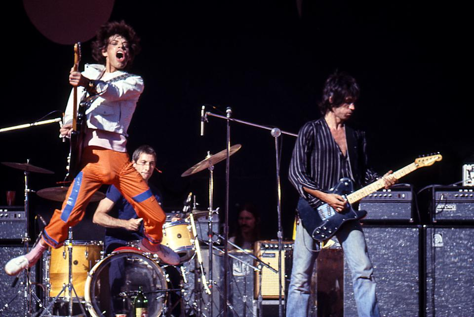 OAKLAND - JUL 26:  The Rolling Stones perform at Oakland Stadium in Oakland, California on July 26, 1978  (Photo by Ed Perlstein/Redferns/Getty Images)