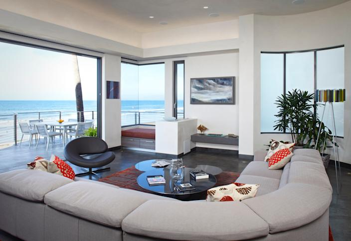 The living room has an ocean view.