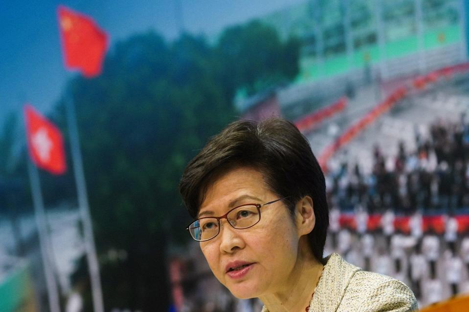 Chief Executive Carrie Lam speaks about the electoral changes on Tuesday. Photo: Sam Tsang