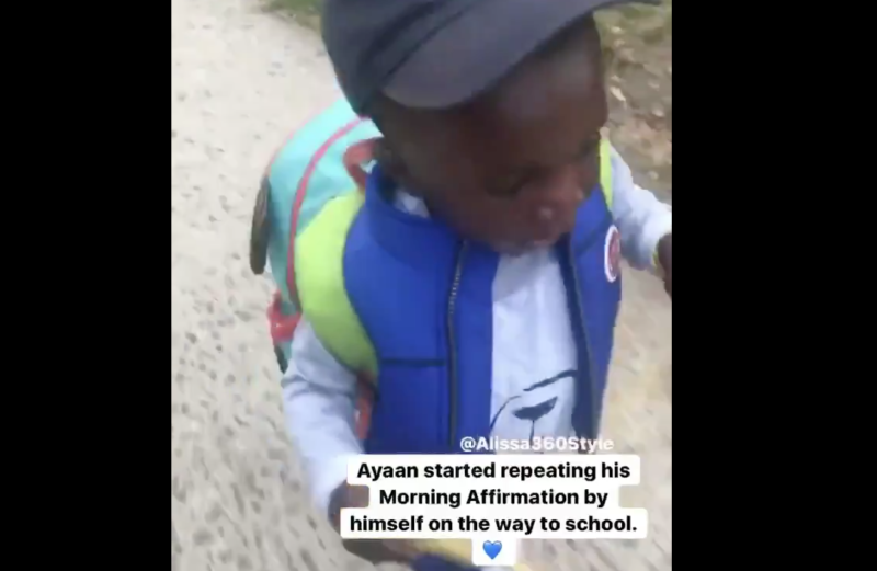 A video of a young boy repeating positive affirmations on his way to school has gone viral on social media (Picture: Twitter)