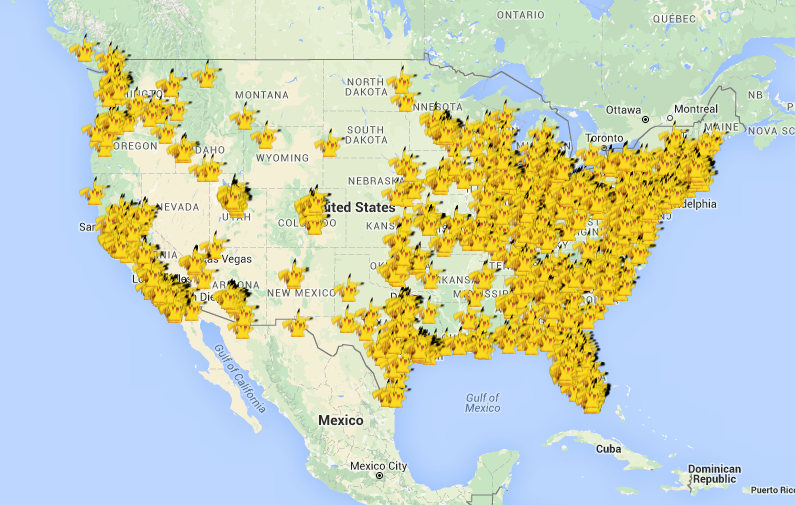 A look at Lure Deals' map. That's a lot of Pikachus.