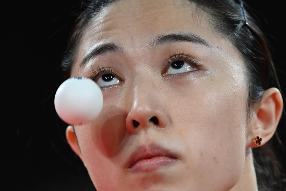 <p>Singapore's Yu MengYu serves to China's Chen Meng during their women's singles semifinals table tennis match at the Tokyo Metropolitan Gymnasium during the Tokyo 2020 Olympic Games in Tokyo on July 29, 2021. (Photo by JUNG Yeon-je / AFP)</p>