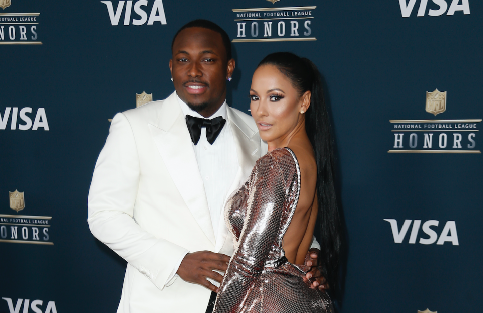 LeSean McCoy and Delicia Cordon at at Super Bowl party in 2017. (Getty)