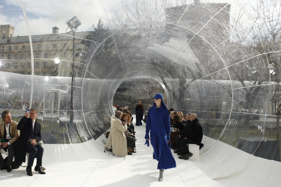 A model wears a creation for the Kenzo fashion collection during Women's fashion week Fall/Winter 2020/21 presented in Paris, Wednesday, Feb. 26, 2020. (AP Photo/Thibault Camus)