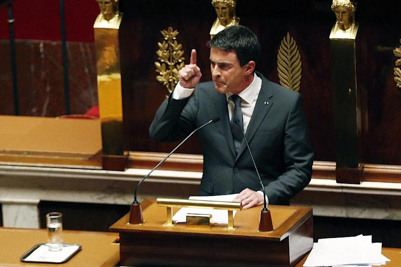 French Prime Minister Manuel Valls delivers a speech during a special session of the national assembly to pay tribute to the 17 victims of the Islamist attacks last week, on January 13, 2015