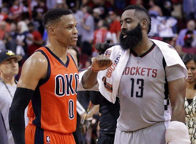 "<a class=""link rapid-noclick-resp"" href=""/nba/players/4390/"" data-ylk=""slk:Russell Westbrook"">Russell Westbrook</a> and James Harden will be up for the biggest honor at June's NBA Awards. (AP)"