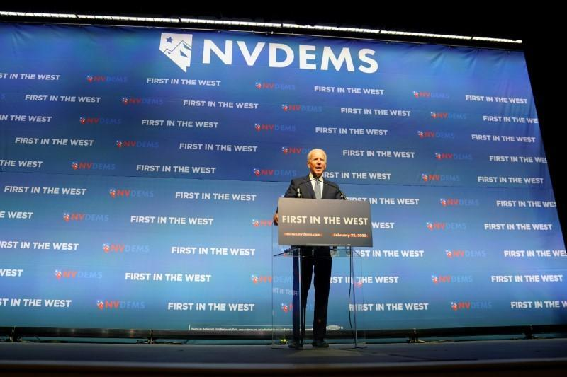 FILE PHOTO: Joe Biden speaks on stage at a First in the West Event at the Bellagio Hotel in Las Vegas