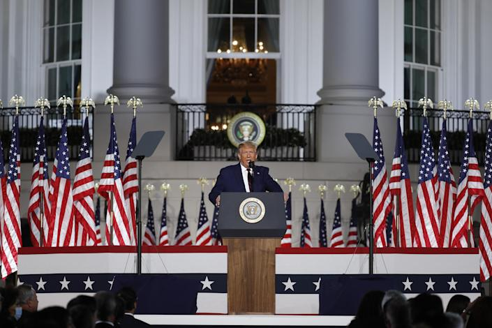 President Trump speaks on Aug. 27, during the Republican National Convention, from the South Lawn of the White House. (Al Drago/Bloomberg via Getty Images)