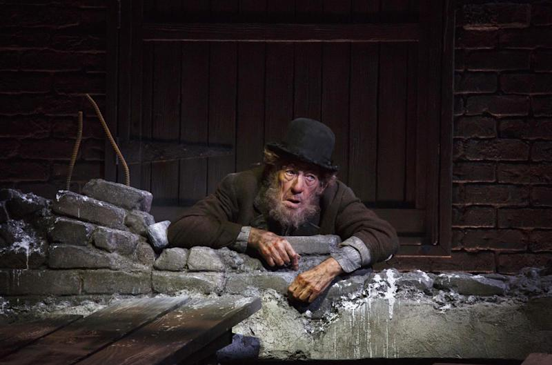 """This photo provided by Boneau/Bryan-Brown shows Ian McKellen in Samuel Beckett's play """"Waiting for Godot,"""" directed by Sean Mathias at Broadway's Cort Theatre in New York. (AP Photo/Boneau/Bryan-Brown, Copyright Joan Marcus)"""