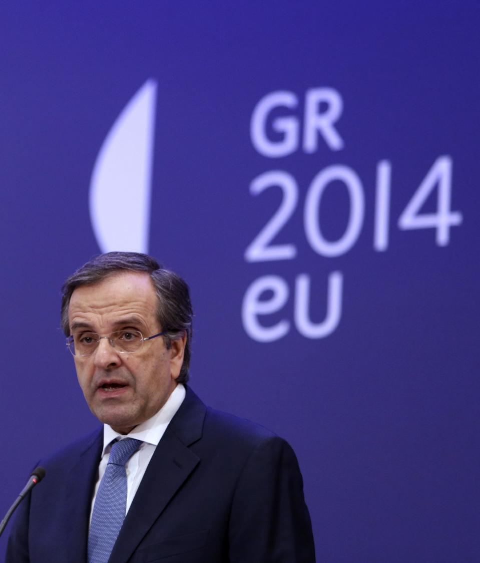 Greece's Prime Minister Antonis Samaras speaks during a press conference with European Parliament President Martin Schulz in Athens, Tuesday, Nov. 26, 2013. Samaras says he wants a quick deal in austerity talks with bailout creditors so his country can focus on the rotating European Union presidency that it assumes on January 1, 2014. (AP Photo/Thanassis Stavrakis)