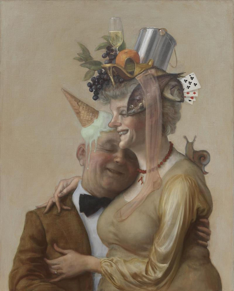 Even the happy old couples are crowned with a dunce cap-like melting ice cream cone and a bottom-of-the-sea boot. Pistachio, 2016. Oil on canvas