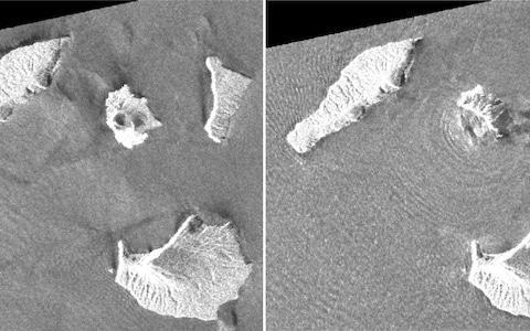 <span>This combination of images taken by JAXA's ALOS-2 satellite shows Indonesia's Anak Krakatau volcano, centre in images, before and after the tsunami</span> <span>Credit: AP </span>
