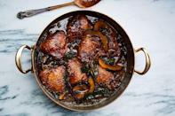 """Don't have an acorn squash for this chicken thighs recipe? Use butternut. Not into mustard greens? Use <a href=""""https://www.epicurious.com/ingredients/all-kale-all-the-time-gallery?mbid=synd_yahoo_rss"""" rel=""""nofollow noopener"""" target=""""_blank"""" data-ylk=""""slk:kale"""" class=""""link rapid-noclick-resp"""">kale</a>, Swiss chard, or spinach. <a href=""""https://www.epicurious.com/recipes/food/views/braised-chicken-thighs-with-squash-and-mustard-greens?mbid=synd_yahoo_rss"""" rel=""""nofollow noopener"""" target=""""_blank"""" data-ylk=""""slk:See recipe."""" class=""""link rapid-noclick-resp"""">See recipe.</a>"""