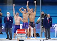 <p>Team USA's Bowen Becker, Blake Pieroni and Caeleb Dressel win gold in the Men's 4 x 100m Freestyle Relay Final at Tokyo Aquatics Centre on July 26.</p>