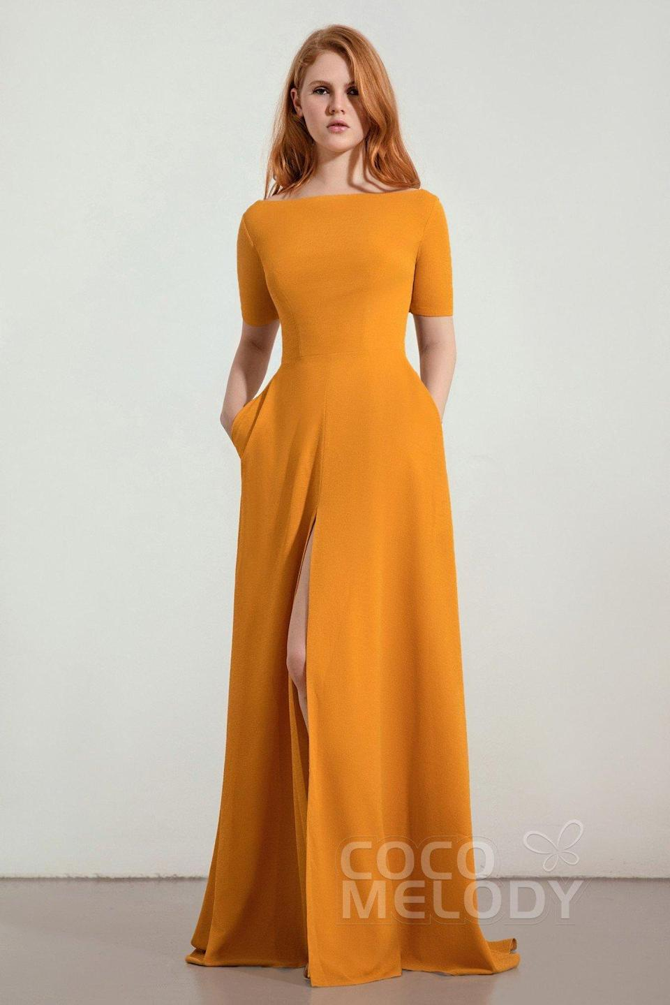 """<h3>Cocomelody</h3><br><strong>Price Range: </strong>$69 - $219<br><strong>Size Range: </strong>0 - 28<br><br>This California-based direct-to-consumer website is swimming with chic, competitively-priced bridesmaid-friendly finds. Despite having only a few brick-and-mortar locations within the US (one permanent shop in LA and a pop-up in New York), they make it easy to shop online by sending fabric swatches and populating every product listing with copious photos. (PSA to brides: they will also ship you up to three dresses at a time for a <a href=""""https://www.cocomelody.com/try-at-home-wedding-dresses"""" rel=""""nofollow noopener"""" target=""""_blank"""" data-ylk=""""slk:three-day, at-home try-on session"""" class=""""link rapid-noclick-resp"""">three-day, at-home try-on session</a> — a bonus if you're not in proximity to the brick and mortar stores.)<br><br><em>Shop </em><strong><em><a href=""""https://www.cocomelody.com/bridesmaids"""" rel=""""nofollow noopener"""" target=""""_blank"""" data-ylk=""""slk:Cocomelody"""" class=""""link rapid-noclick-resp"""">Cocomelody</a></em></strong><br><br><strong>Cocomelody</strong> A-Line Sweep Train Twisted Silk Bridesmaid Dress, $, available at <a href=""""https://go.skimresources.com/?id=30283X879131&url=https%3A%2F%2Fwww.cocomelody.com%2Fa-line-sweep-brush-train-twisted-silk-fabric-bridesmaid-dress-cb0280.html%3Foptionid%3D1388"""" rel=""""nofollow noopener"""" target=""""_blank"""" data-ylk=""""slk:Cocomelody"""" class=""""link rapid-noclick-resp"""">Cocomelody</a>"""