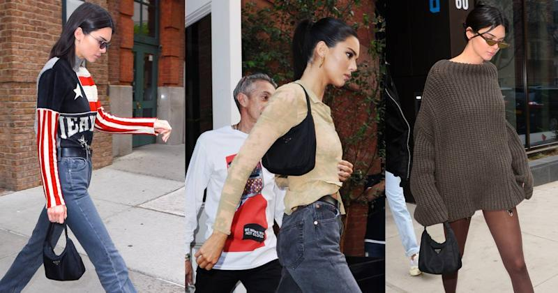 Kendall Jenner wears a Prada Tessuto mini hobo bag. (Photos: Getty Images)