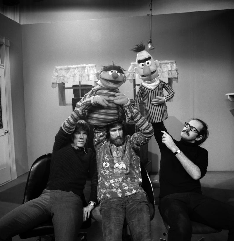 NEW YORK - 1970: Puppeteers (L-R) Daniel Seagren holding and Jim Henson working Ernie and Frank Oz with Bert rehearse for an episode of Sesame Street at Reeves TeleTape Studio in March, 1970 in New York City, New York. (Photo by David Attie/Getty Images)