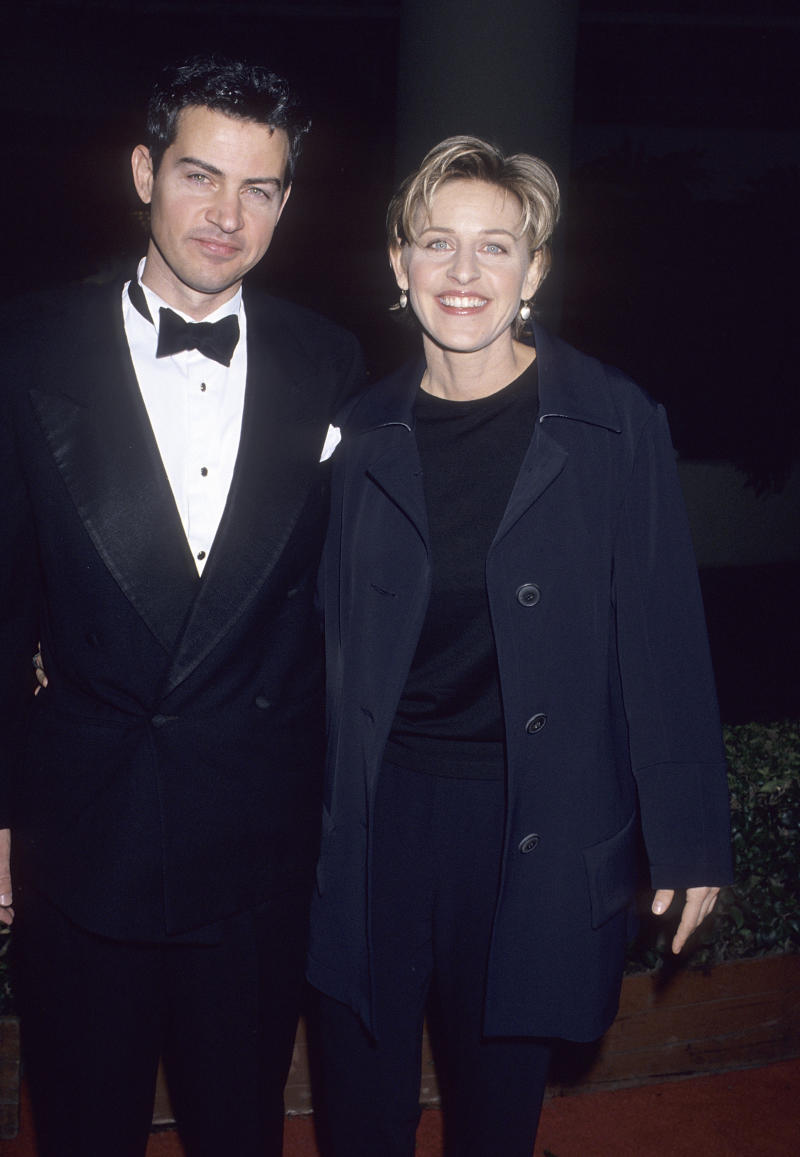 BEVERLY HILLS, CA - JANUARY 21: Comedienne Ellen DeGeneres and brother Vance attend the 52nd Annual Golden Globe Awards on January 21, 1995 at the Beverly Hilton Hotel in Beverly Hills, California. (Photo by Ron Galella, Ltd./Ron Galella Collection via Getty Images)