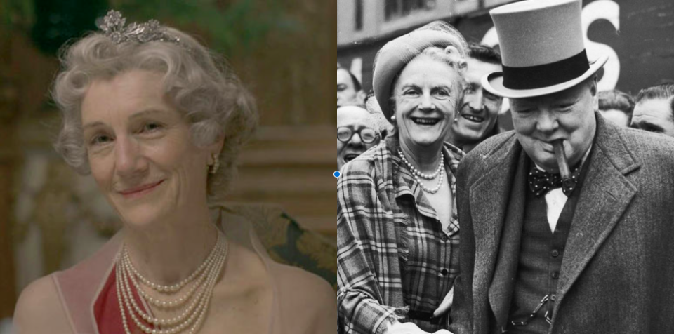 <p>Winston Churchill's wife, Clementine, who went by the nickname Clemmie, was married to the prime minister for more than 56 years. Dame Harriet Walter assumed the role in the first season, and she's no stranger to period pieces—Harriet can also be seen in <em>Sense and Sensibility</em>, <em>The Young Victoria</em>, <em>Atonement</em>, and <em>Downton Abbey</em>.</p>