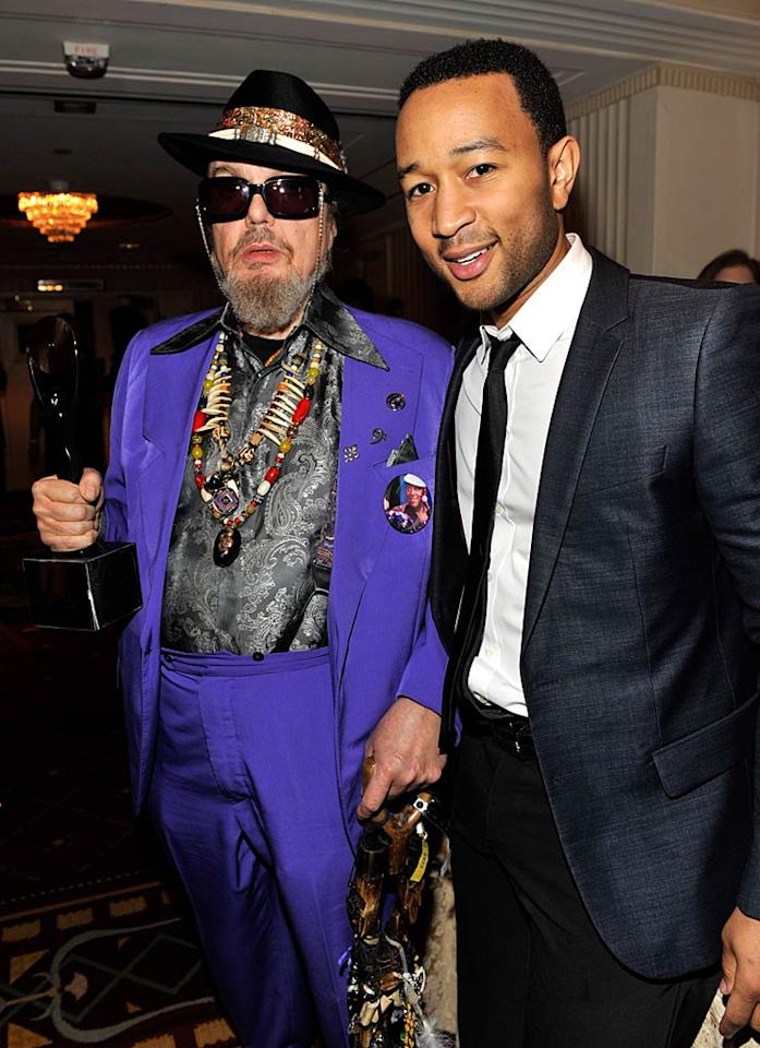 """John Legend presented inductee Dr. John with his trophy. """"He never stopped flying the flag of funk. Tonight he is definitely in the right place at the right time,"""" Legend declared, making a reference to one of Dr. John's most famous tunes, """"Right Place, Wrong Time."""" Kevin Mazur/<a href=""""http://www.wireimage.com"""" target=""""new"""">WireImage.com</a> - March 14, 2011"""