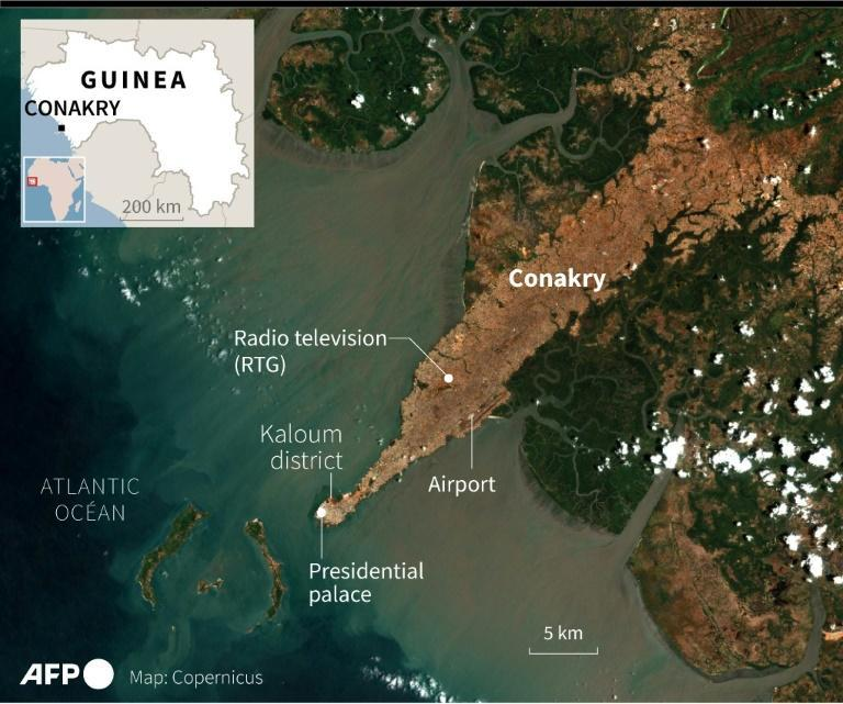 Map of the Guinean capital Conakry (AFP/Simon MALFATTO)