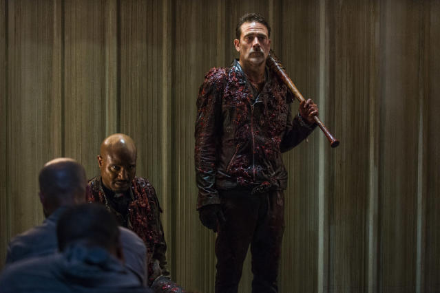 <p>Jeffrey Dean Morgan as Negan and Seth Gilliam as Father Gabriel Stokes in AMC's <i>The Walking Dead.><br> (Photo: Gene Page/AMC)</i> </p>