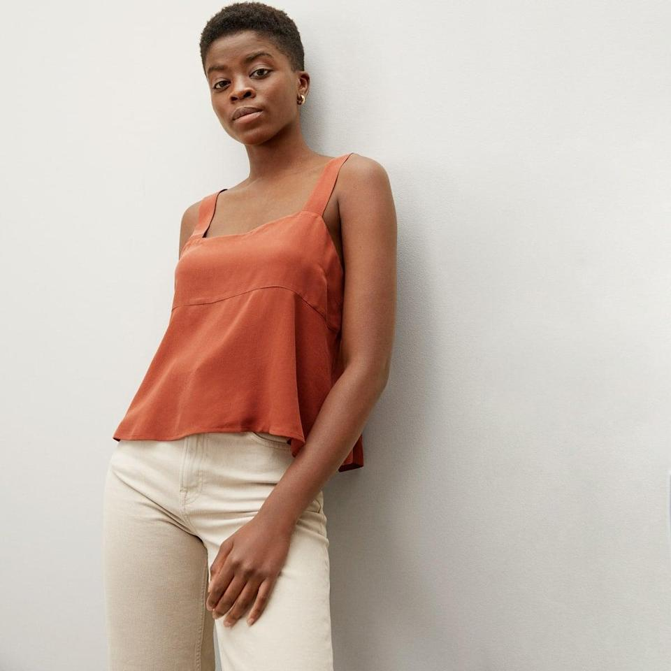 <p>The back of this <span>Everlane Clean Silk Picnic Top</span> ($78) is so cute.</p>