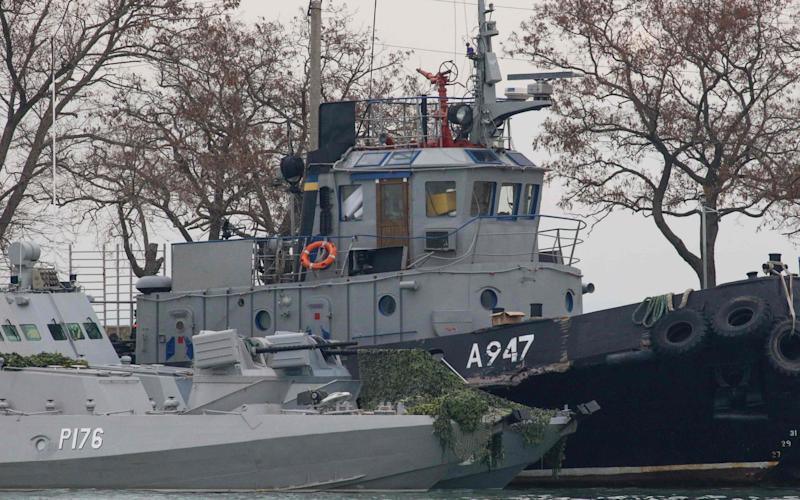 Seized Ukrainian navy vessels in Kerch in the annexed Crimea - AFP