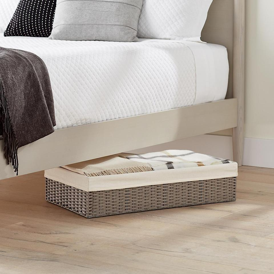 <p>If you're looking for something with an open top, then get these <span>Grey Montauk Underbed Storage Bins</span> ($40-$50).</p>