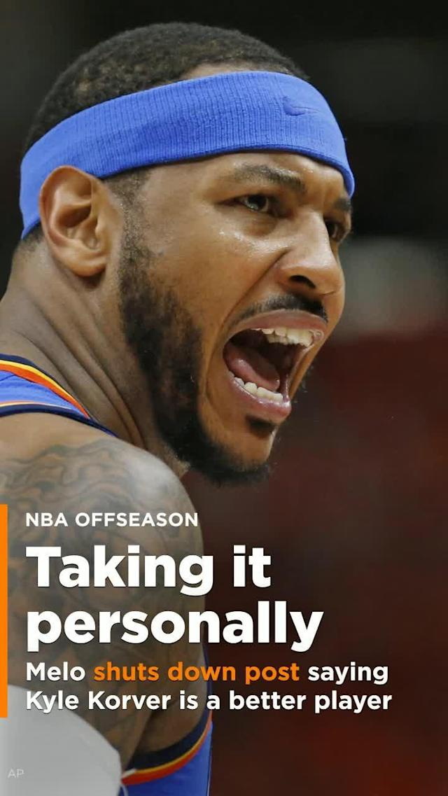 After seeing a post on Instagram this week suggesting Kyle Korver is better than Carmelo Anthony, Anthony wasn't having anything to do with that debate.