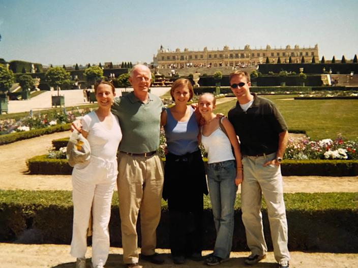 The Adair family visits Château de Versailles in France on a family vacation.