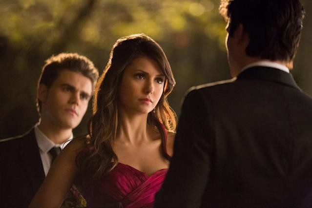 """Pictures of You"" -- Paul Wesley as Stefan, Nina Dobrev as Elena, and Ian Somerhalder as Damon"