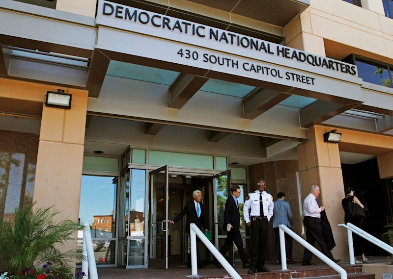 his Tuesday, June 14, 2016 file photo shows the entrance to the Democratic National Committee (DNC) headquarters in Washington.