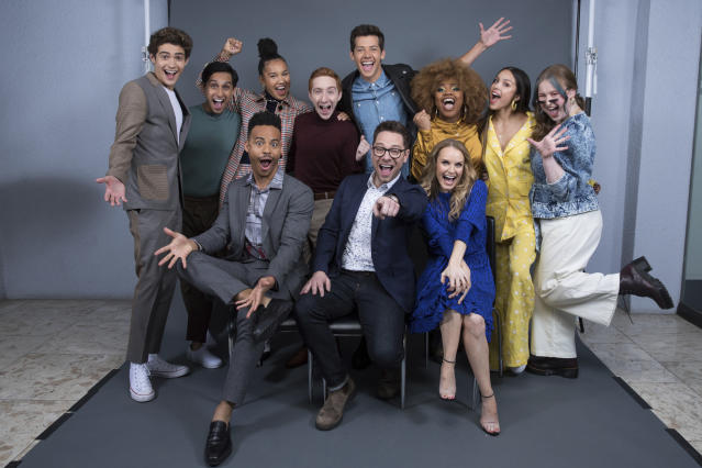 """Joshua Bassett, on left, Frankie A. Rodriguez, Mark St. Cyr, Sofie Wylie, Larry Saperstein, Matt Cornett, Tim Federle, Dara Renne, Kate Reinders, Olivia Rodrigo, and Julia Lester pose at the Disney + launch event promoting """"High School Musical: The Musical: The Series"""" at the London West Hollywood hotel on Saturday, Oct. 19, 2019 in West Hollywood, Calif. (Photo by Mark Von Holden/Invision/AP)"""