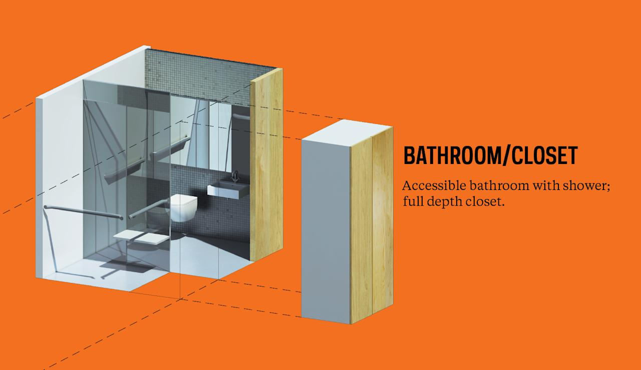 New York micro-apartment design winner announced orange bathroom/closet