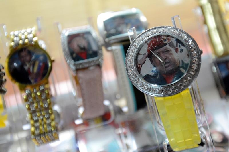 Watches with images of Venezuelan President Hugo Chavez at a shop in Caracas on January 7, 2012 (AFP Photo/Leo Ramirez)