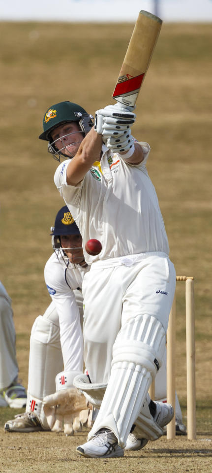 Australia's James Faulkner batting during day one of the international tour match at the BrightonandHoveJobs.com County Cricket Ground, Hove.